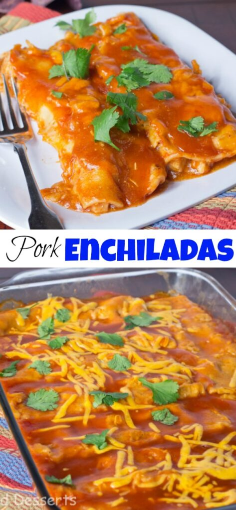 pork enchiladas on a plate close up