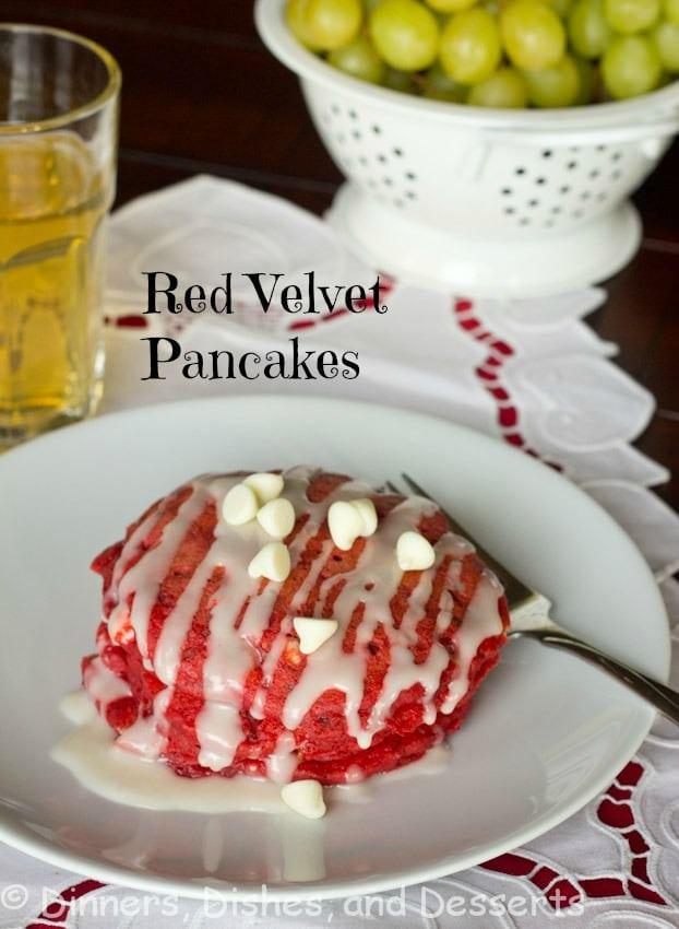 red velvet pancakes on a plate
