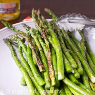 roasted asparagus on a plate