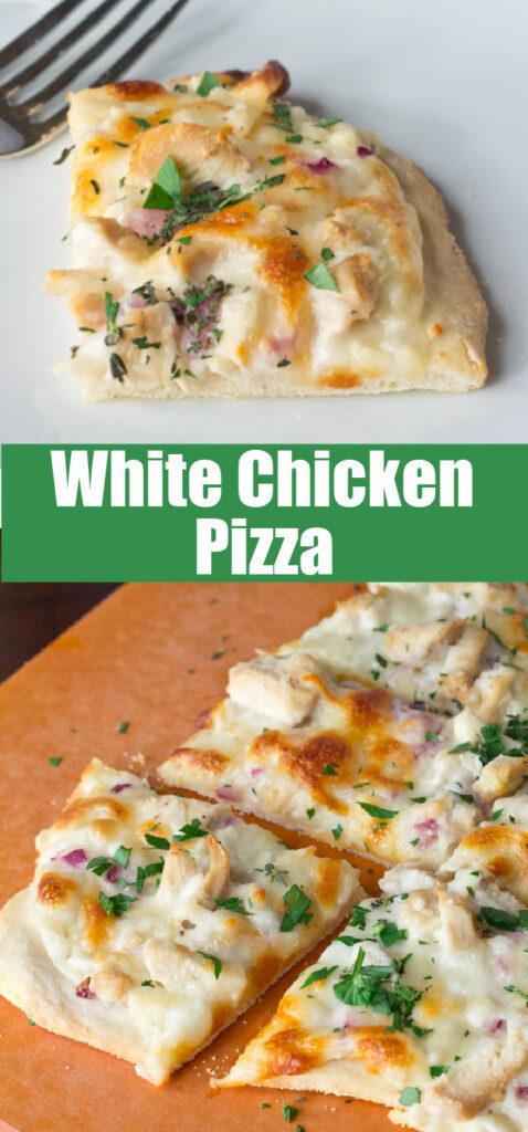 white chicken pizza slices close up