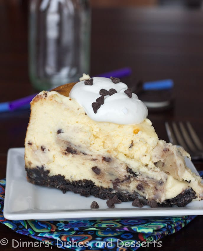A homemade version of The Cheesecake Factory's Chocolate Chip Cookie Dough Cheesecake