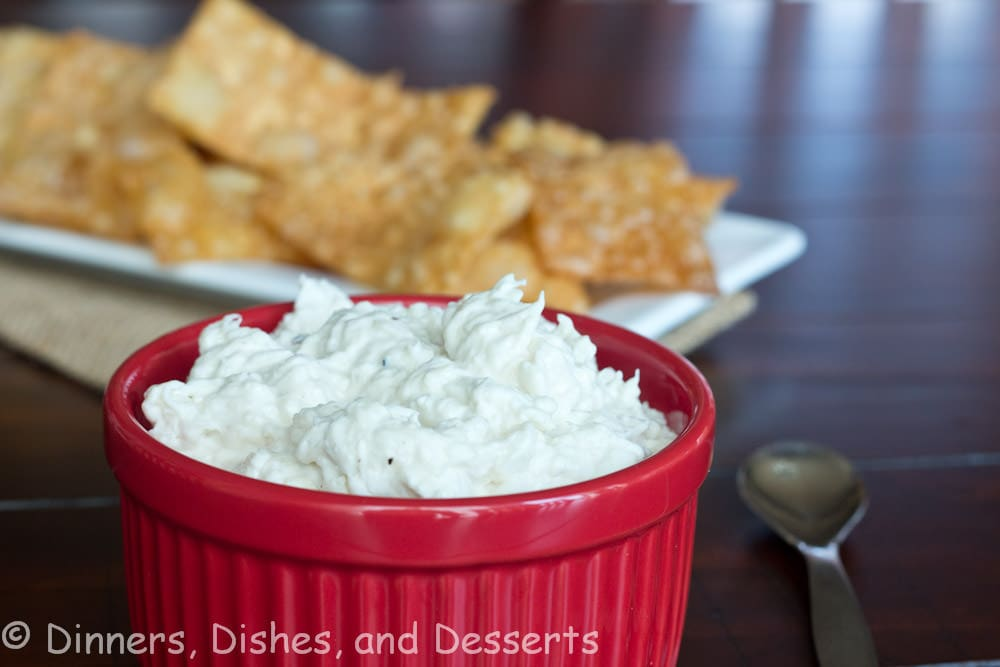 crab rangoon dip in a bowl