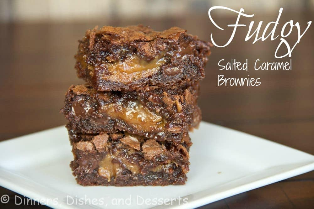 Fudgy Salted Caramel Brownies - Rich, fudgy brownies that are filled with a layer of gooey salted caramel.