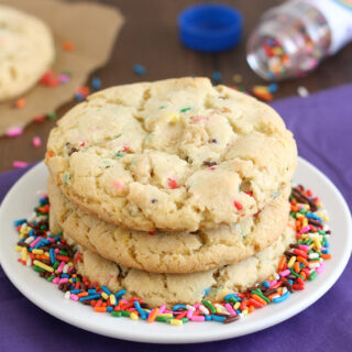 birthday cake confetti cookies staked on a plate