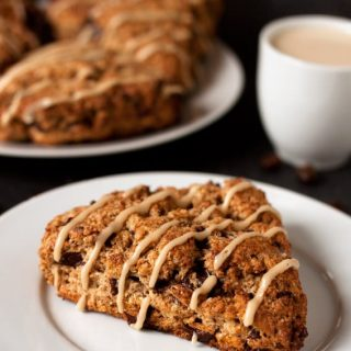 espresso chocolate chip scones on a plate