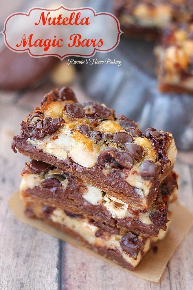 nutella magic bars on a plate