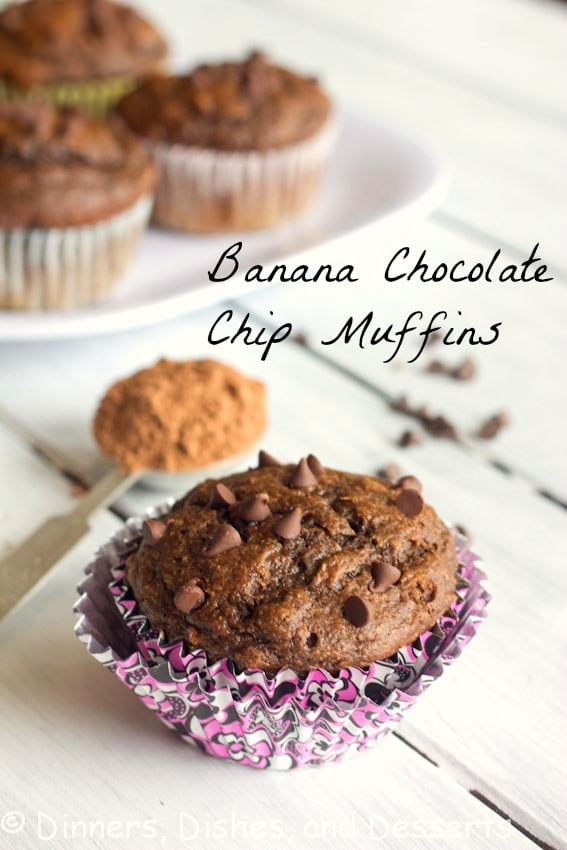 banana chocolate chip muffins on a table