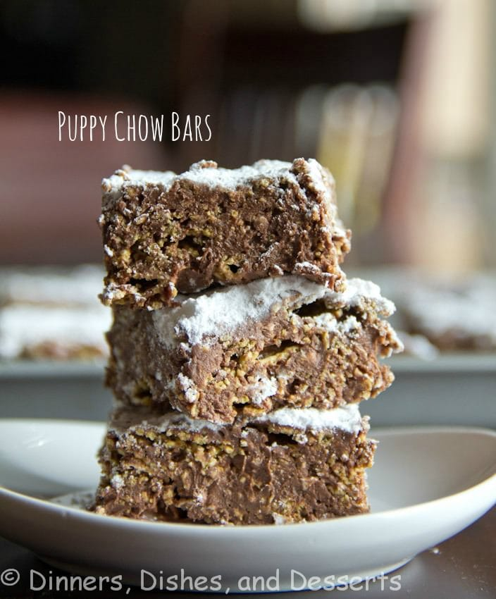 puppy chow bars on a plate