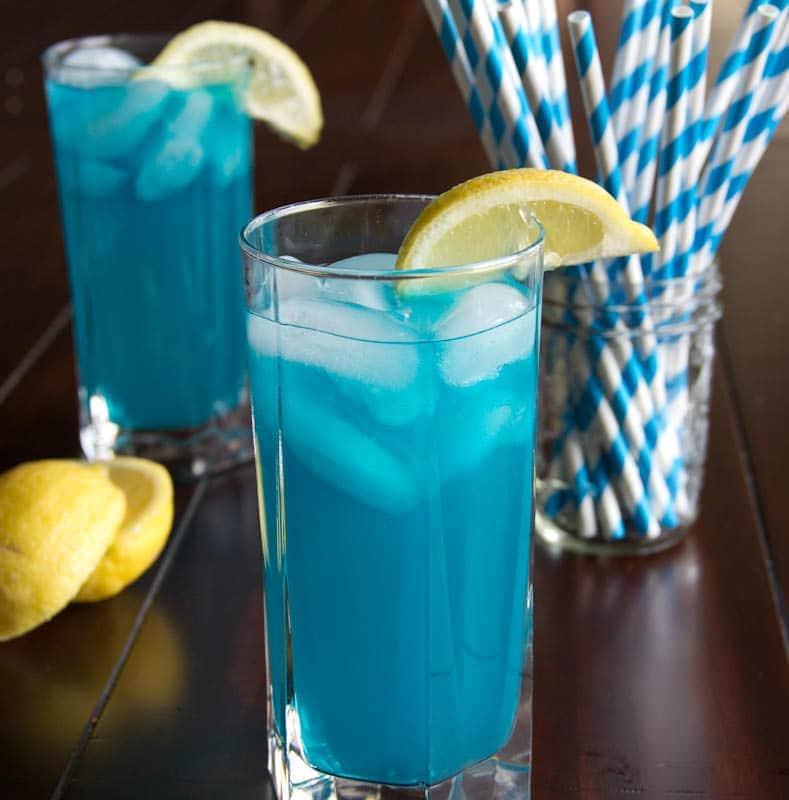 blue vodka lemonade in a cup
