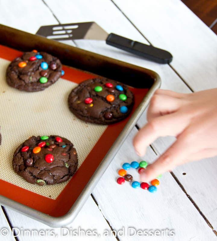 chocolate m&m cookies on a pan