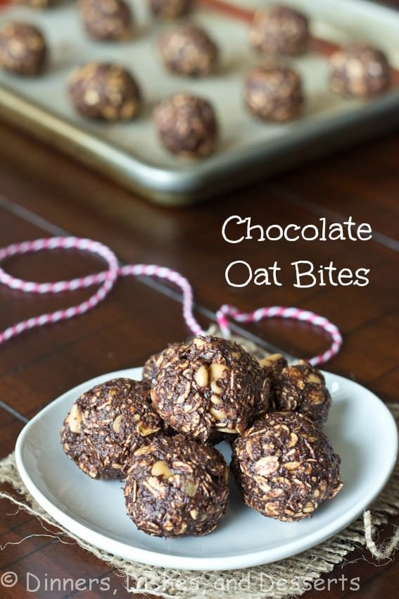 chocolate oat bites on a plate
