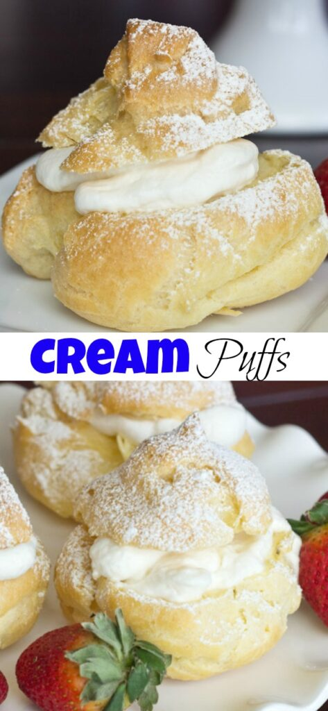 A close up of cream puffs, with Cream and Chocolate