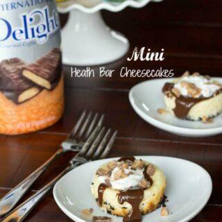 mini heath bar cheesecake on a plate