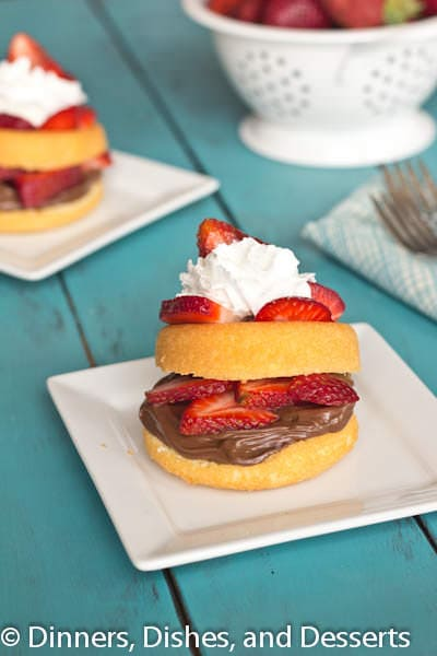 nutella strawberry shortcakes on a plate