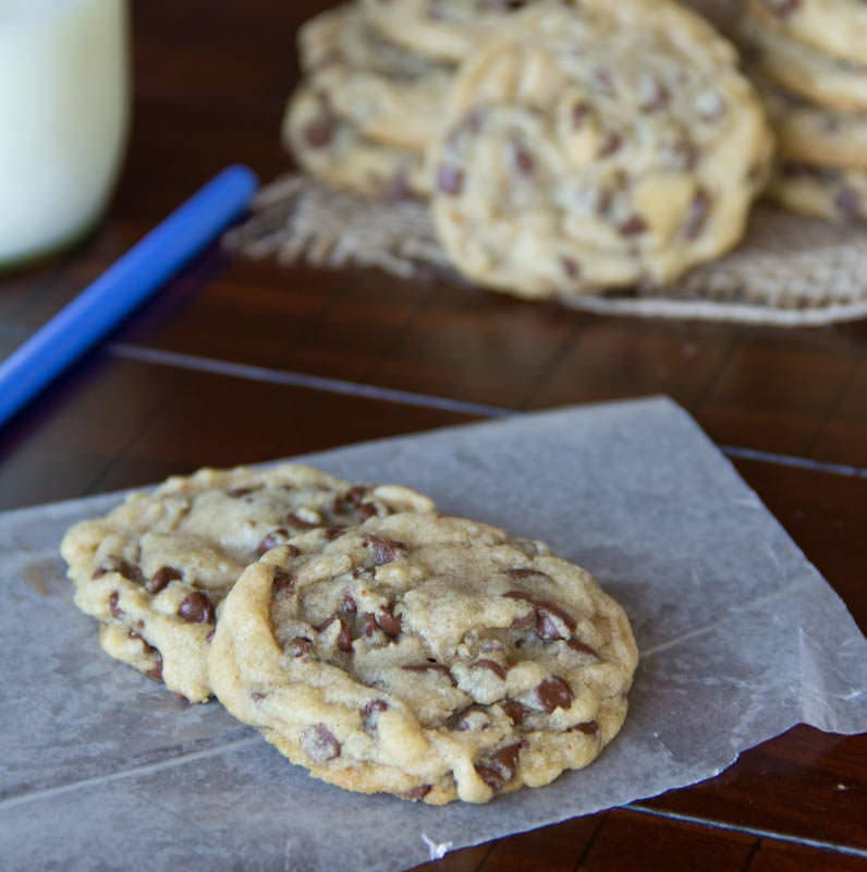 perfect chocolate chip cookies on a plate