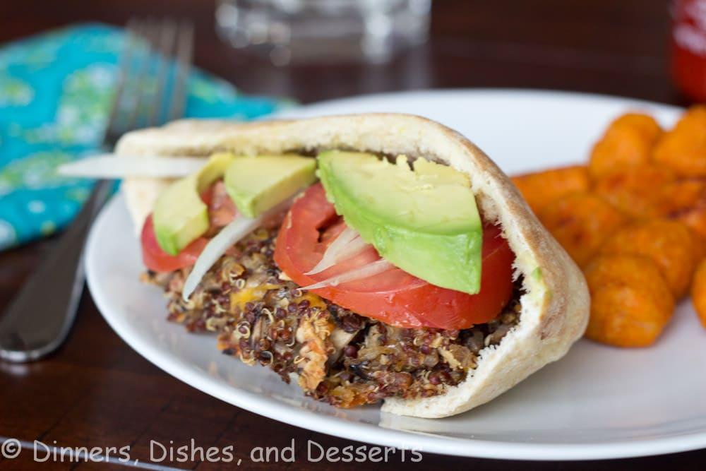 quinoa veggie burgers on a plate