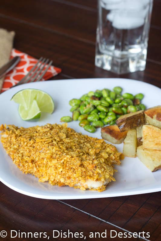 tortilla crusted fish on a plate