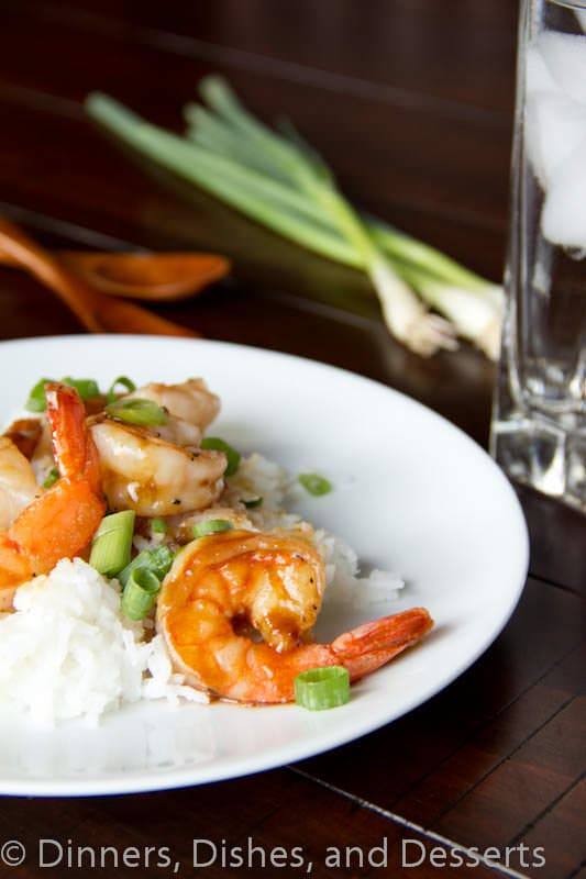 hoisin glazed shrimp on a plate