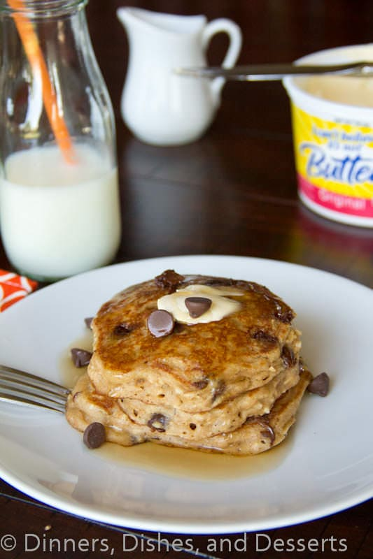 oatmeal chocolate chip pancakes on a plate