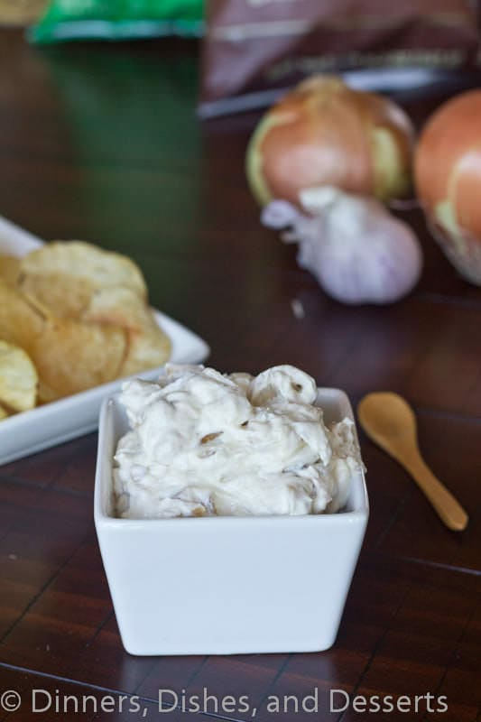 Roasted Garlic & Caramelized Onion Dip - way better than any store bought dip out there!  Great for chips, veggies, or just about anything!