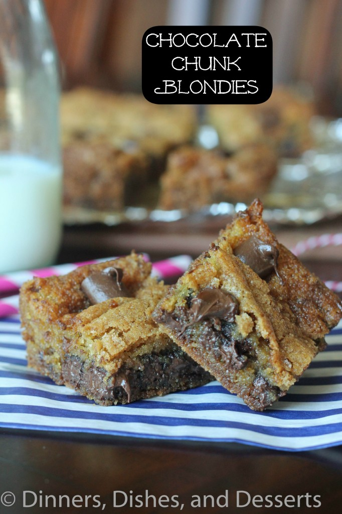 chocolate chunk blondies on a plate