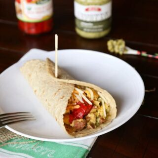chorizo and egg breakfast wrap on a plate