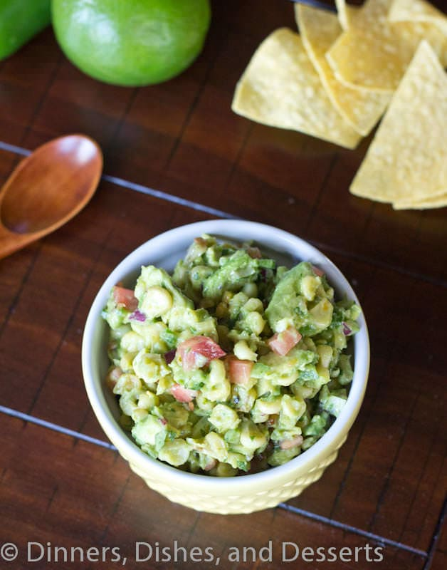 roasted corn and avocado salsa in a bowl