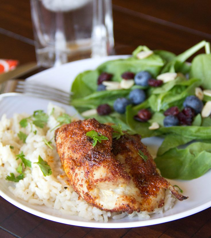 Spiced Chicken Thighs with Garlicky Rice