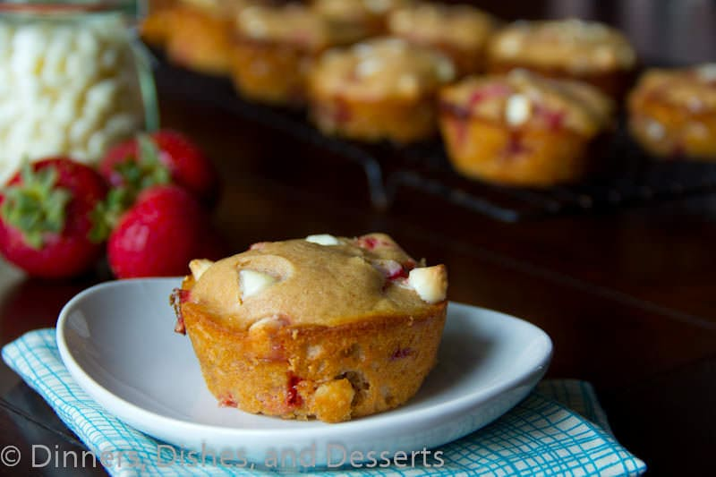 Whole Wheat Strawberry White Chocolate Chip Muffins