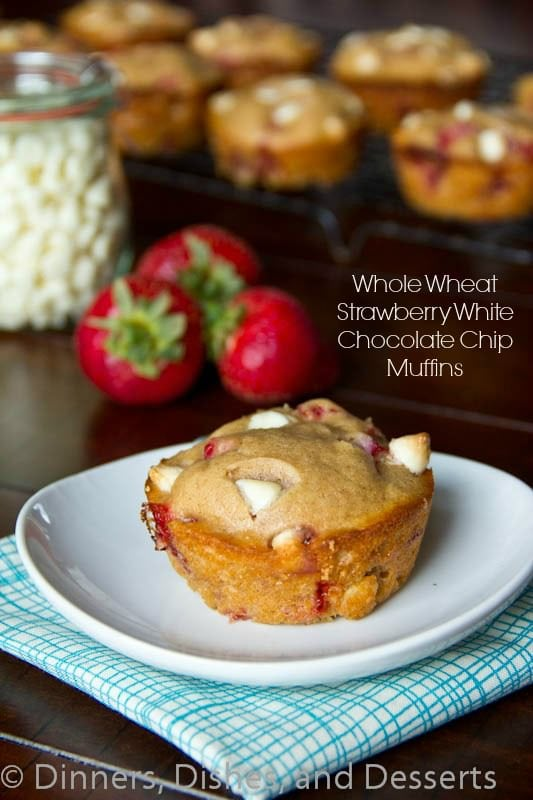 strawberry white chocolate chip muffins on a plate