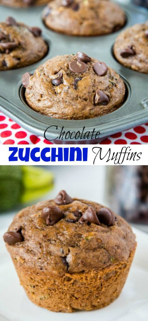 Chocolate Zucchini Muffins -Moist and tender chocolate muffins filled with zucchini and chocolate chips. Great way to get more veggies into your family without them knowing!