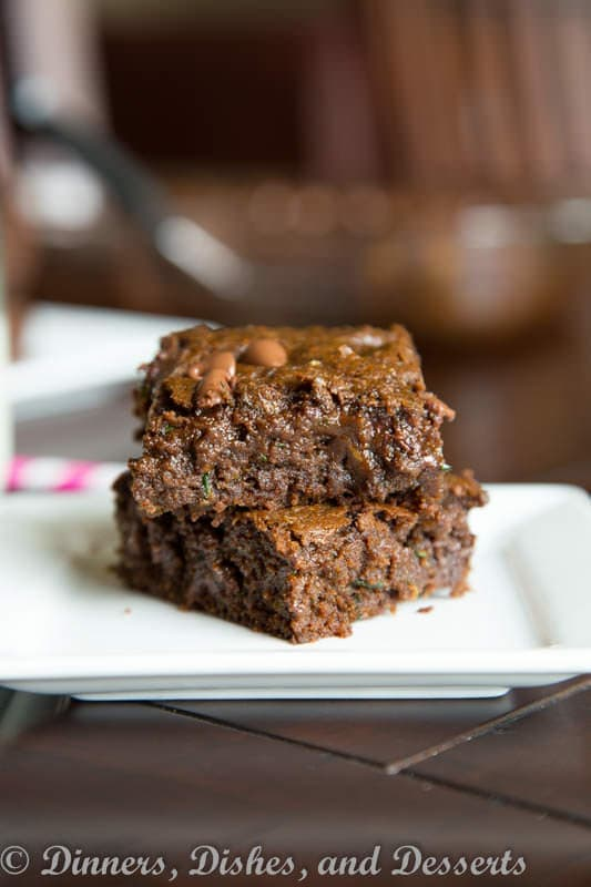 healthy zucchini brownies on a plate