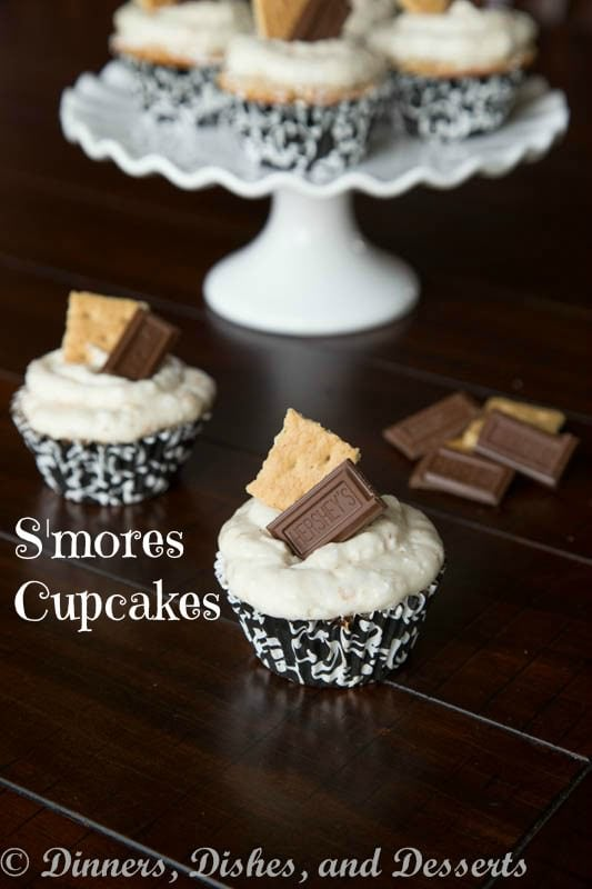 smores cupcakes on a table