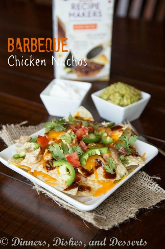 bbq chicken nachos on a plate