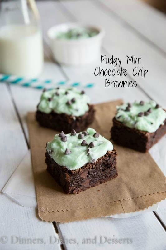 fudgy mint chocolate chip brownies on a board