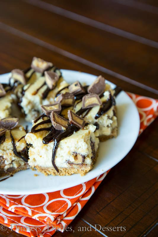 skinny peanut butter cup cheesecake on a plate