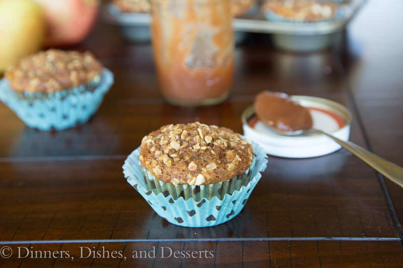 whole wheat apple butter muffins on a table