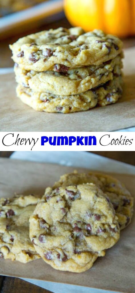 Chewy Pumpkin Chocolate Chip Cookies - classic chewy chocolate chip cookies dressed up for fall with a little pumpkin!  These are thick, chewy and anything but cakey!
