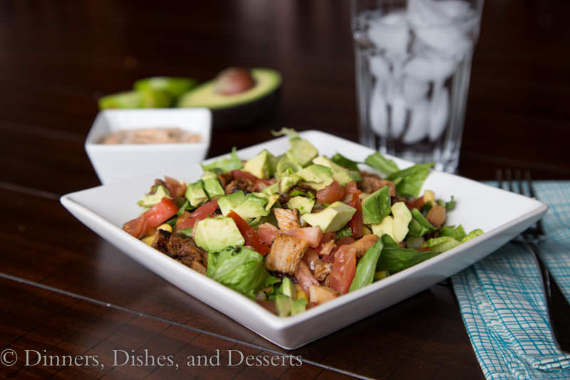 mexican chopped salad with creamy chipotle dressing on a plate