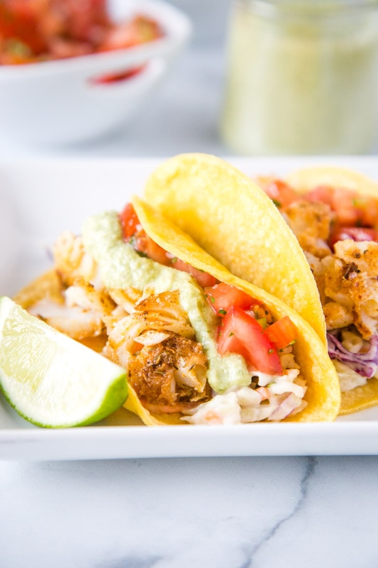 easy fish tacos on a white plate