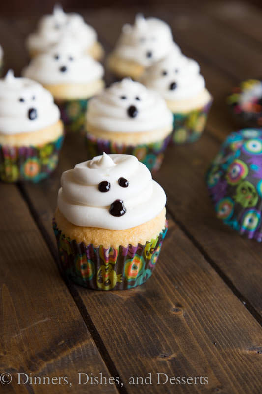ghost cupcakes in wrappers