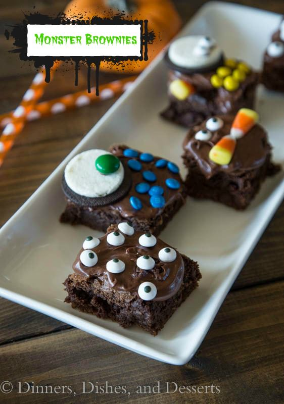 monster brownies on a plate