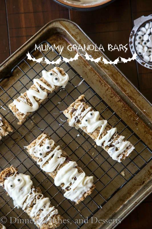 mummy granola bars on a pan