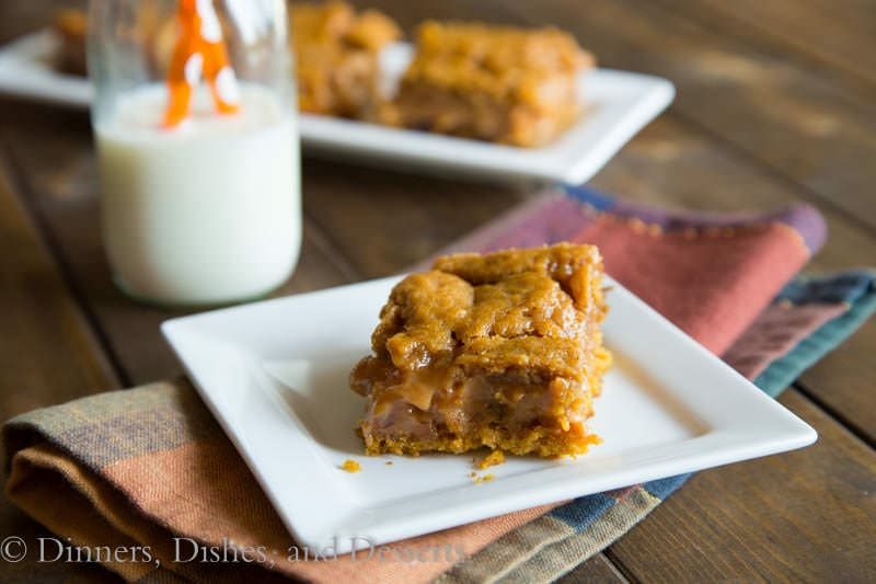 pumpkin caramel layer bars on a plate
