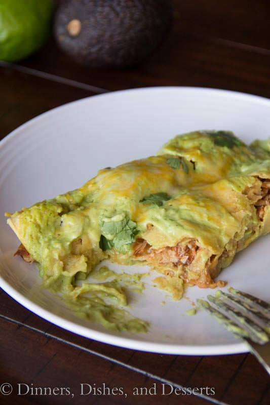 turkey avocado enchiladas on a plate