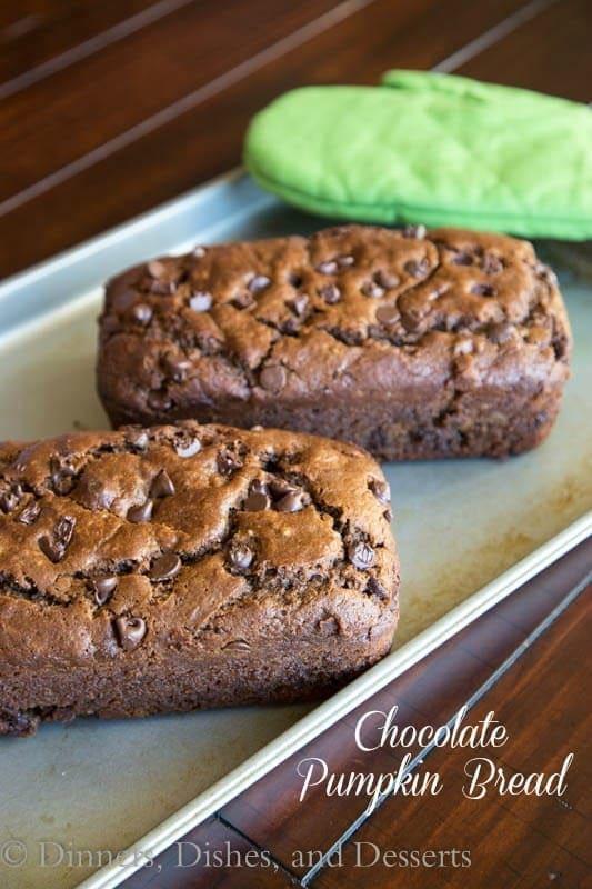 chocolate pumpkin bread on a plate