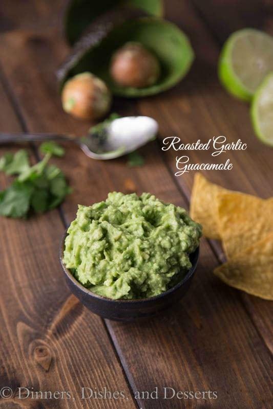 roasted garlic guacamole in a bowl