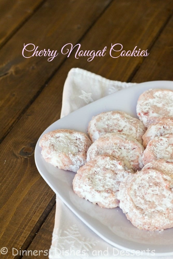 cherry chip nougat cookies on a plate