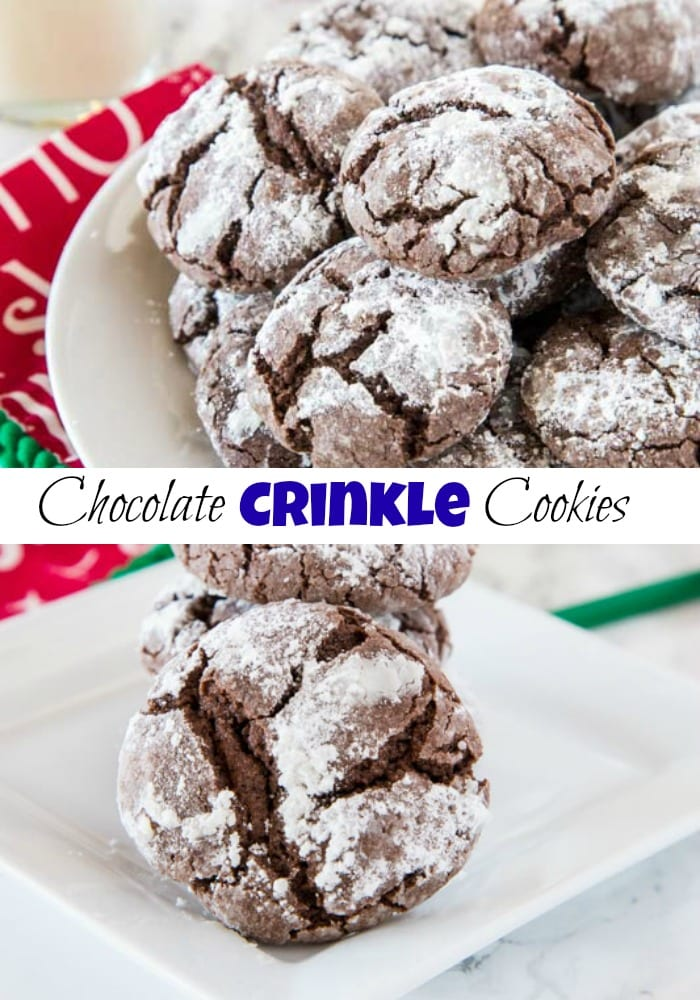 Chocolate Crinkle Cookies - Rich and fudgy chocolate cookies coated in powdered sugar. A classic cookie that is perfect for the holidays or any time of year!