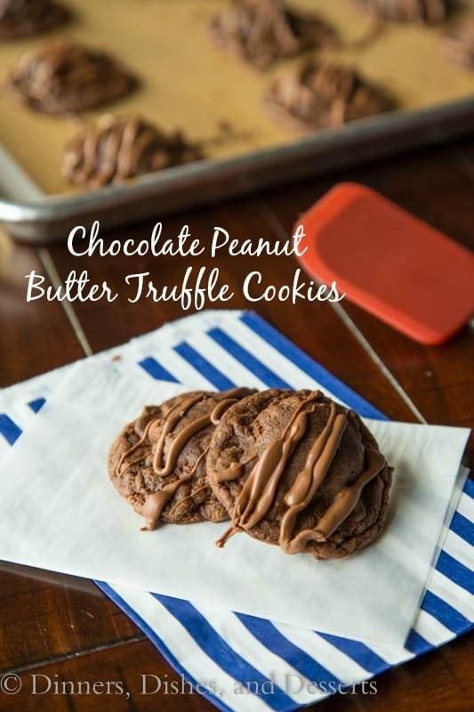 chocolate peanut butter truffle cookies on a napkin